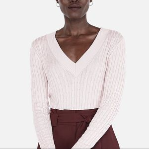 Express Pastel Pink V-Neck Cable Knit Sweater